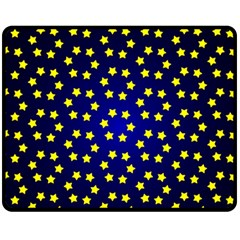 Star Christmas Red Yellow Fleece Blanket (medium)  by Onesevenart