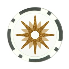 Star Golden Glittering Yellow Rays Poker Chip Card Guard by Onesevenart