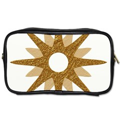 Star Golden Glittering Yellow Rays Toiletries Bags 2 Side by Onesevenart