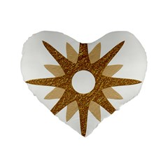 Star Golden Glittering Yellow Rays Standard 16  Premium Flano Heart Shape Cushions by Onesevenart