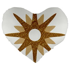 Star Golden Glittering Yellow Rays Large 19  Premium Flano Heart Shape Cushions by Onesevenart