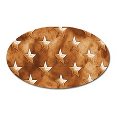 Stars Brown Background Shiny Oval Magnet by Onesevenart