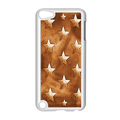 Stars Brown Background Shiny Apple Ipod Touch 5 Case (white) by Onesevenart