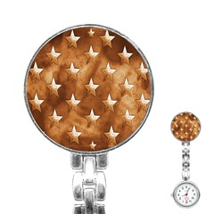 Stars Brown Background Shiny Stainless Steel Nurses Watch by Onesevenart