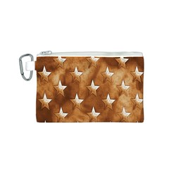Stars Brown Background Shiny Canvas Cosmetic Bag (s) by Onesevenart