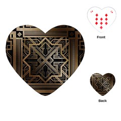 Gold Metallic And Black Art Deco Playing Cards (heart)  by 8fugoso