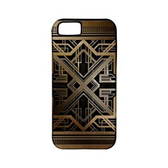 Gold Metallic And Black Art Deco Apple Iphone 5 Classic Hardshell Case (pc+silicone) by 8fugoso
