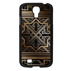 Gold Metallic And Black Art Deco Samsung Galaxy S4 I9500/ I9505 Case (black) by 8fugoso