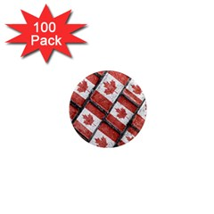 Canadian Flag Motif Pattern 1  Mini Magnets (100 Pack)  by dflcprints