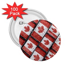 Canadian Flag Motif Pattern 2 25  Buttons (100 Pack)  by dflcprints