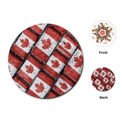 Canadian Flag Motif Pattern Playing Cards (round)  by dflcprints