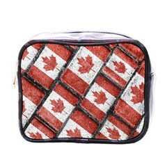 Canadian Flag Motif Pattern Mini Toiletries Bags by dflcprints
