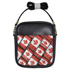 Canadian Flag Motif Pattern Girls Sling Bags by dflcprints