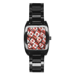 Canadian Flag Motif Pattern Stainless Steel Barrel Watch by dflcprints