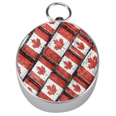 Canadian Flag Motif Pattern Silver Compasses by dflcprints