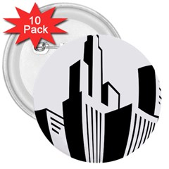 Tower City Town Building Black White 3  Buttons (10 Pack)  by Jojostore