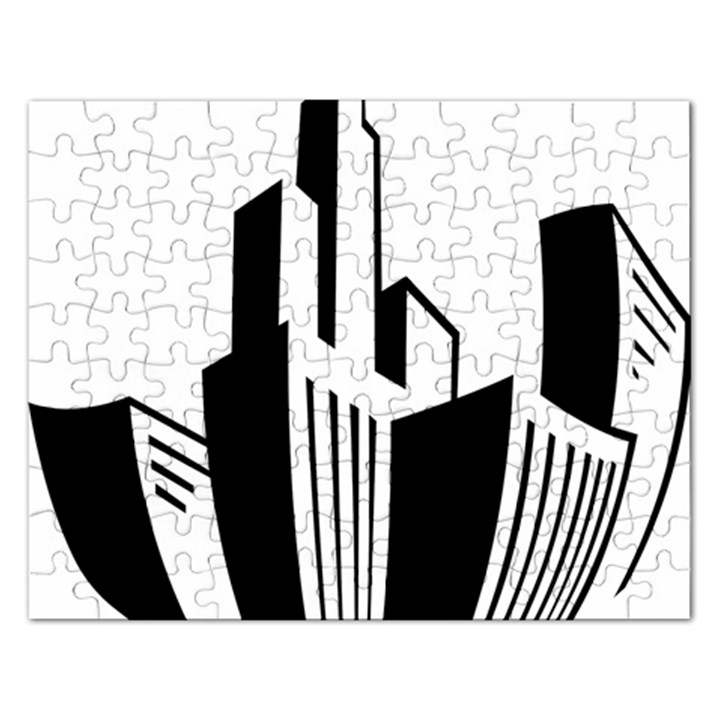 Tower City Town Building Black White Rectangular Jigsaw Puzzl