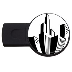 Tower City Town Building Black White Usb Flash Drive Round (4 Gb) by Jojostore
