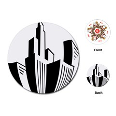 Tower City Town Building Black White Playing Cards (round)  by Jojostore