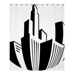Tower City Town Building Black White Shower Curtain 60  X 72  (medium)  by Jojostore