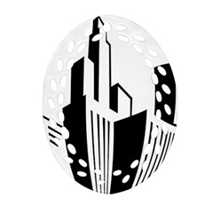 Tower City Town Building Black White Oval Filigree Ornament (two Sides) by Jojostore