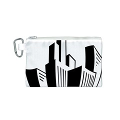 Tower City Town Building Black White Canvas Cosmetic Bag (s) by Jojostore