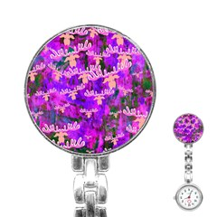 Watercolour Paint Dripping Ink Stainless Steel Nurses Watch by Onesevenart