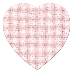 Red Line Plaid Vertical Horizon Jigsaw Puzzle (heart) by Jojostore