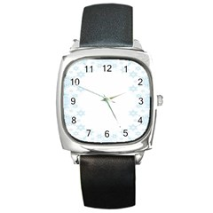 The Background Snow Snowflakes Square Metal Watch by Onesevenart