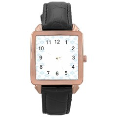 The Background Snow Snowflakes Rose Gold Leather Watch  by Onesevenart