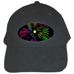 Fireworks Pink Red Yellow Green Black Sky Happy New Year Black Cap by Jojostore