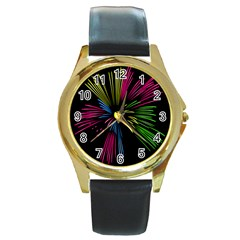 Fireworks Pink Red Yellow Green Black Sky Happy New Year Round Gold Metal Watch by Jojostore
