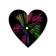 Fireworks Pink Red Yellow Green Black Sky Happy New Year Heart Magnet by Jojostore