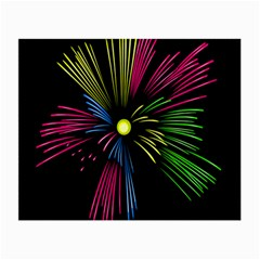 Fireworks Pink Red Yellow Green Black Sky Happy New Year Small Glasses Cloth by Jojostore