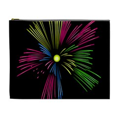 Fireworks Pink Red Yellow Green Black Sky Happy New Year Cosmetic Bag (xl) by Jojostore