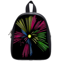 Fireworks Pink Red Yellow Green Black Sky Happy New Year School Bag (small) by Jojostore