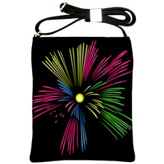 Fireworks Pink Red Yellow Green Black Sky Happy New Year Shoulder Sling Bags by Jojostore