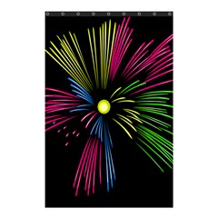 Fireworks Pink Red Yellow Green Black Sky Happy New Year Shower Curtain 48  X 72  (small)  by Jojostore