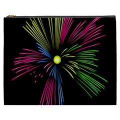 Fireworks Pink Red Yellow Green Black Sky Happy New Year Cosmetic Bag (xxxl)  by Jojostore