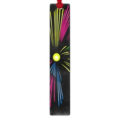 Fireworks Pink Red Yellow Green Black Sky Happy New Year Large Book Marks by Jojostore