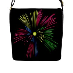 Fireworks Pink Red Yellow Green Black Sky Happy New Year Flap Messenger Bag (l)  by Jojostore