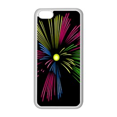 Fireworks Pink Red Yellow Green Black Sky Happy New Year Apple Iphone 5c Seamless Case (white) by Jojostore