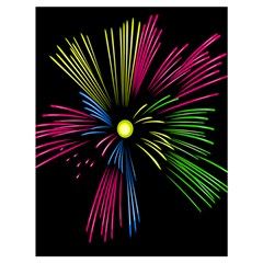 Fireworks Pink Red Yellow Green Black Sky Happy New Year Drawstring Bag (large) by Jojostore