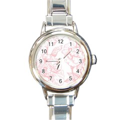 Vintage Pink Floral Round Italian Charm Watch by 8fugoso