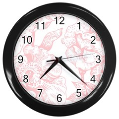 Vintage Pink Floral Wall Clocks (black) by 8fugoso