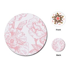 Vintage Pink Floral Playing Cards (round)  by 8fugoso