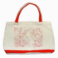 Vintage Pink Floral Classic Tote Bag (red) by 8fugoso