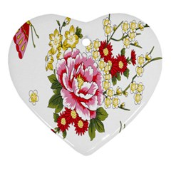 Butterfly Flowers Rose Ornament (heart) by Jojostore