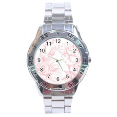 Vintage Pink Floral Stainless Steel Analogue Watch by 8fugoso