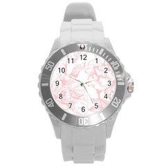 Vintage Pink Floral Round Plastic Sport Watch (l) by 8fugoso